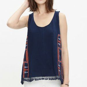 Madewell Navy Blue Embroidered Tassel Tunic Sz XS